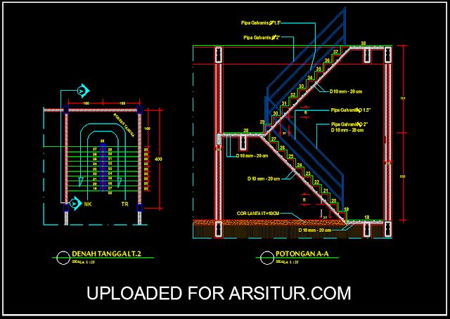Detail Gambar Tangga U - Contoh Gambar AutoCad