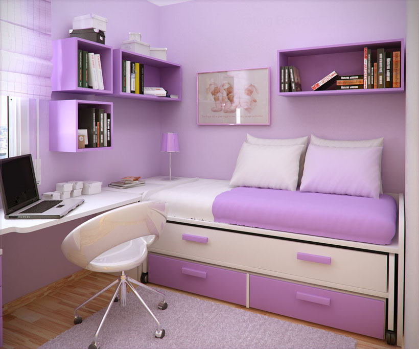 Small Bedroom Layout Purple Color Combination