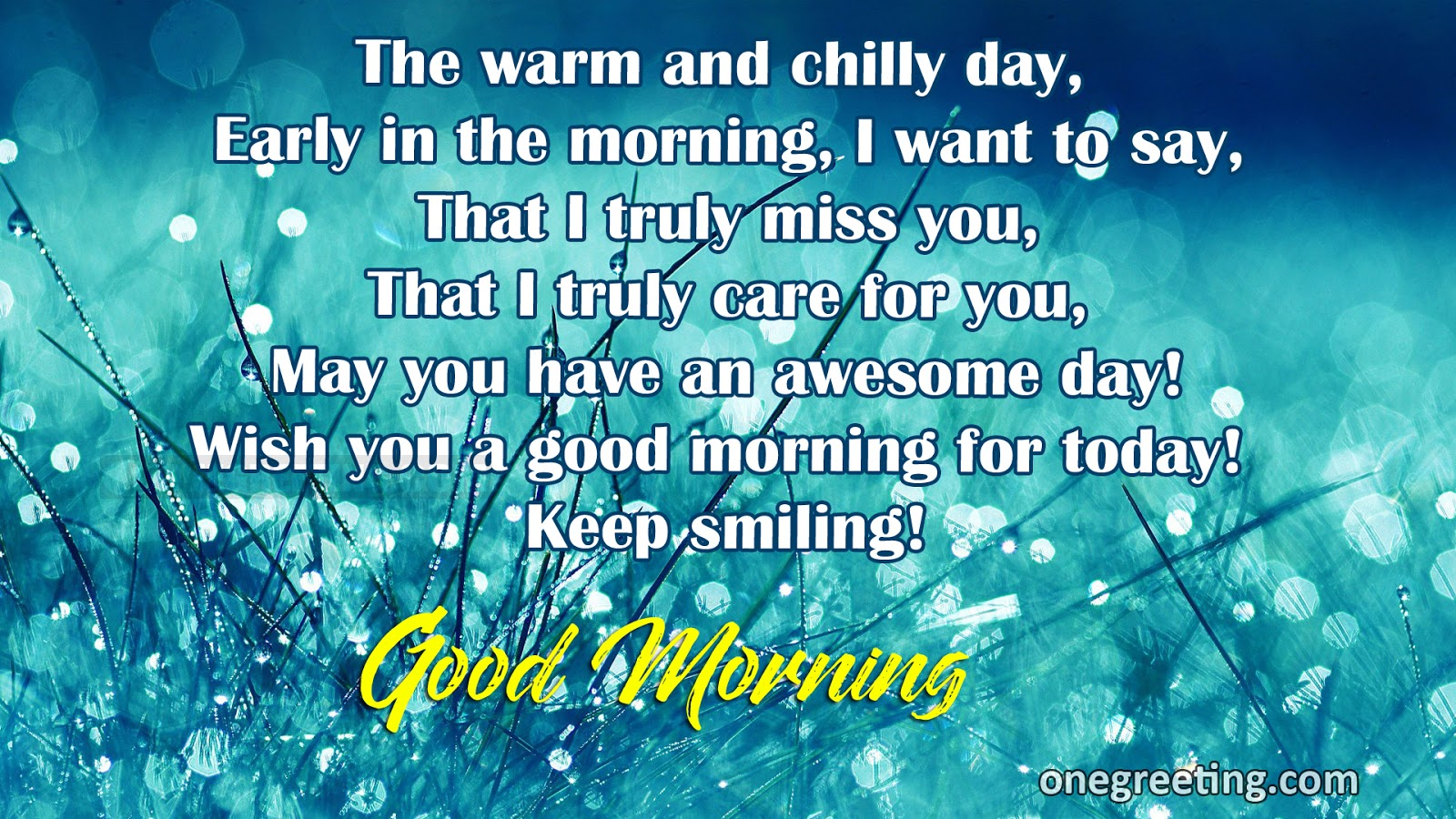 The Warm And Chilly Day Good Morning One Greeting