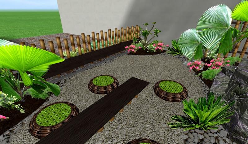 adornos muebles y hermosos para un jardin pequeo cerca macetas mesa con