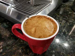 "Flat-White coffee made with Kicking Horse Coffee ""Cliff Hanger Espresso Beans"""