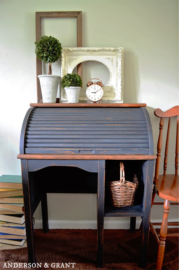 Amazing furniture transformation of a trashed desk purchased at a yard sale | Anderson & Grant