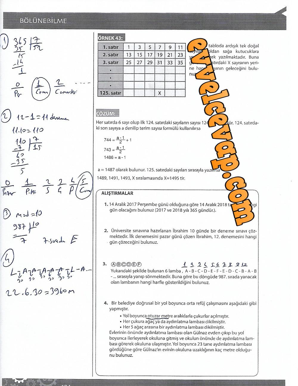 9.Sınıf Matematik MEB Yayınları Ders Kitabı 194.Sayfa Cevapları 4.Ünite