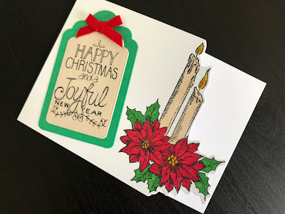hand made Christmas card with stamped and die cut Christmas candles and poinsettia