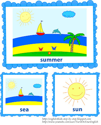 summer vocal flashcards alongside words for learning English