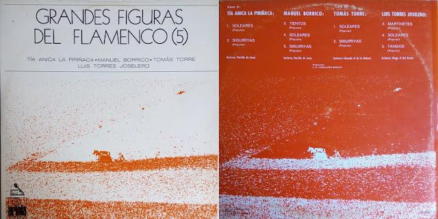 """Tío Gregorio El Borrico GRANDES FIGURAS DEL FLAMENCO"""" (5) ARIOLA 1971 LP"""