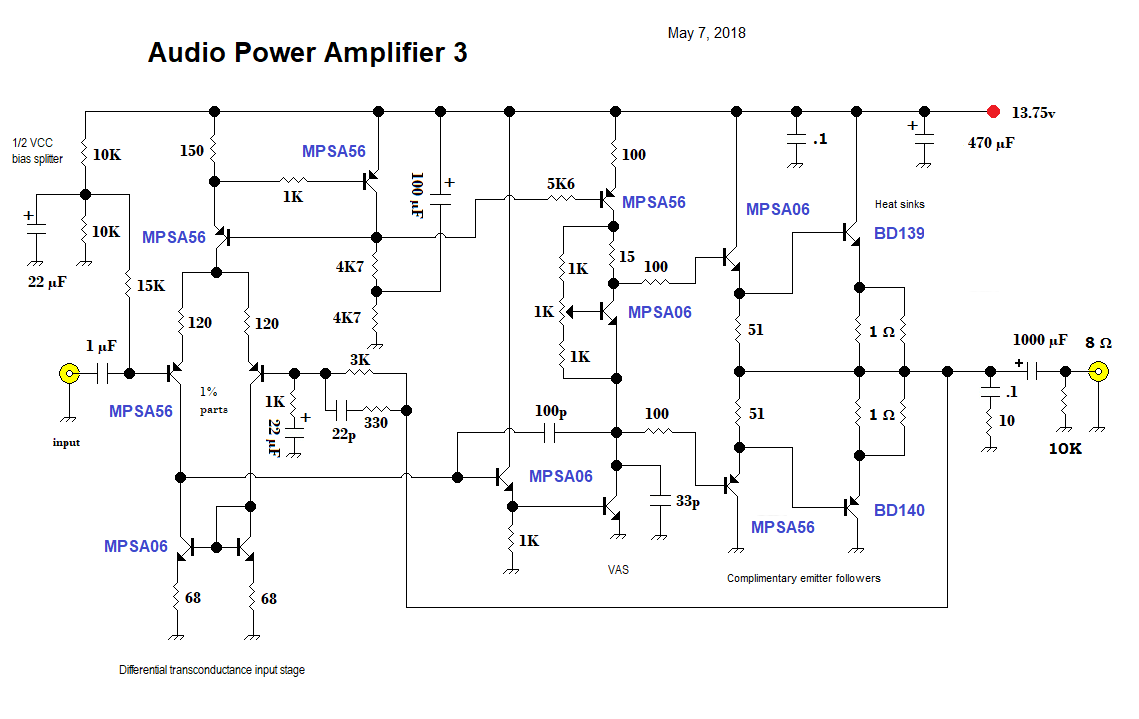 Qrp Homebuilder Qrphb 2018 2 Watts Stereo Using Three Lm386 Amplifier 3 Discrete Pa With Complimentary Emitter Followers For The Finals