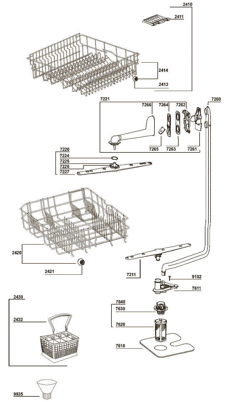 WHIRLPOOL DISH-WASHER ADG352WH – EXPLODED VIEW