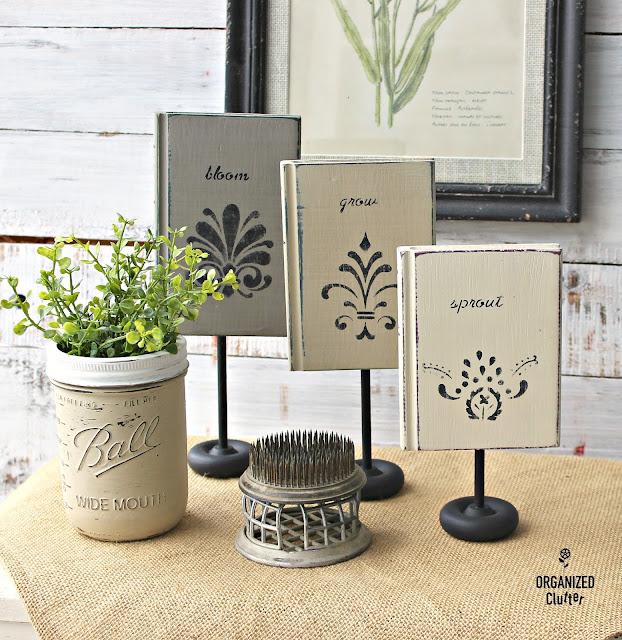 Home Interiors Wood Book Set Upcycle #thriftshopmakeover #stencil #chalked #chalkpaint #stencil