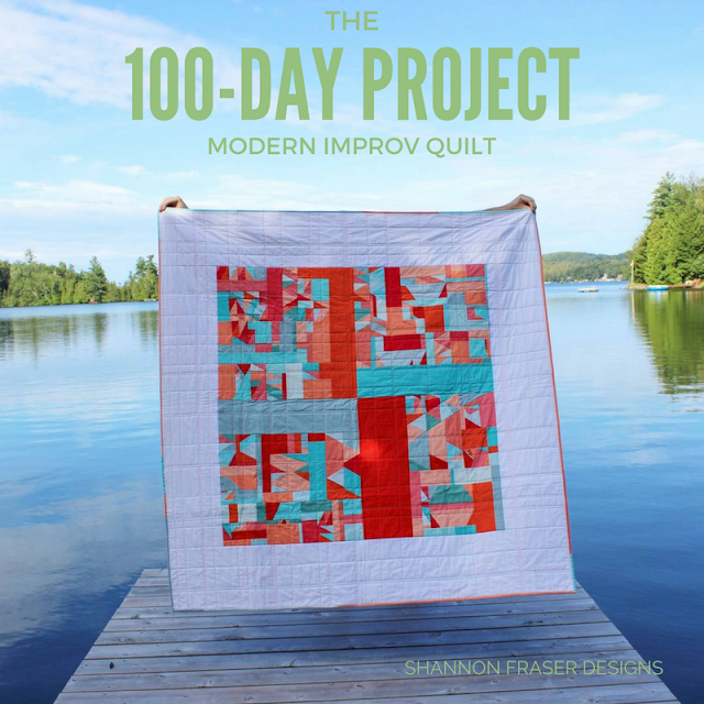 100-Days of Modern Improv Quilting | Shannon Fraser Designs | Creative Challenge | Textile Art | Modern Quilting | The 100 Day Project | Solids Quilt