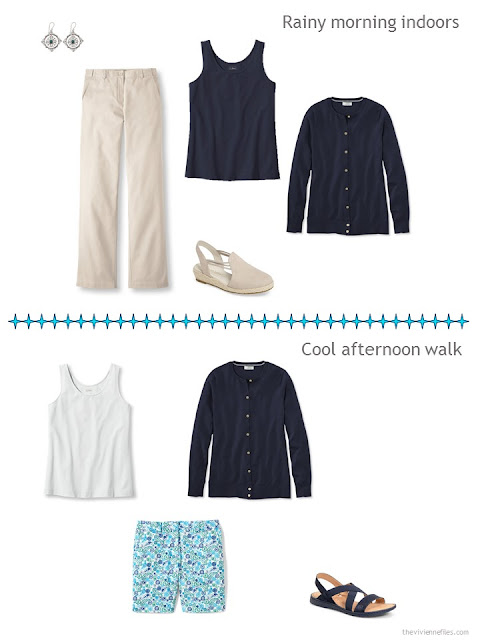 two outfits for cooler beach weather, from a travel capsule wardrobe