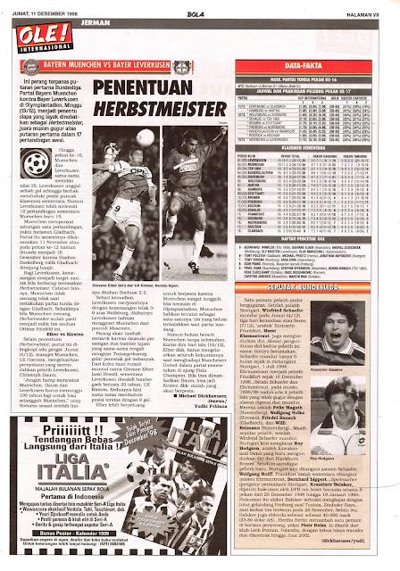 BAYERN MUENCHEN VS BAYER LEVERKUSEN HERBSTMEISTER 1998