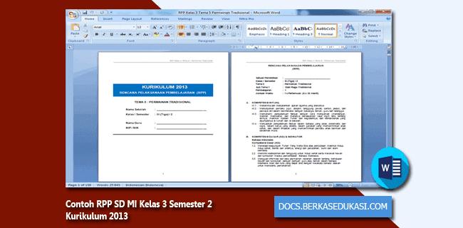 Contoh RPP SD MI Kelas 3 Semester 2 Kurikulum 2013