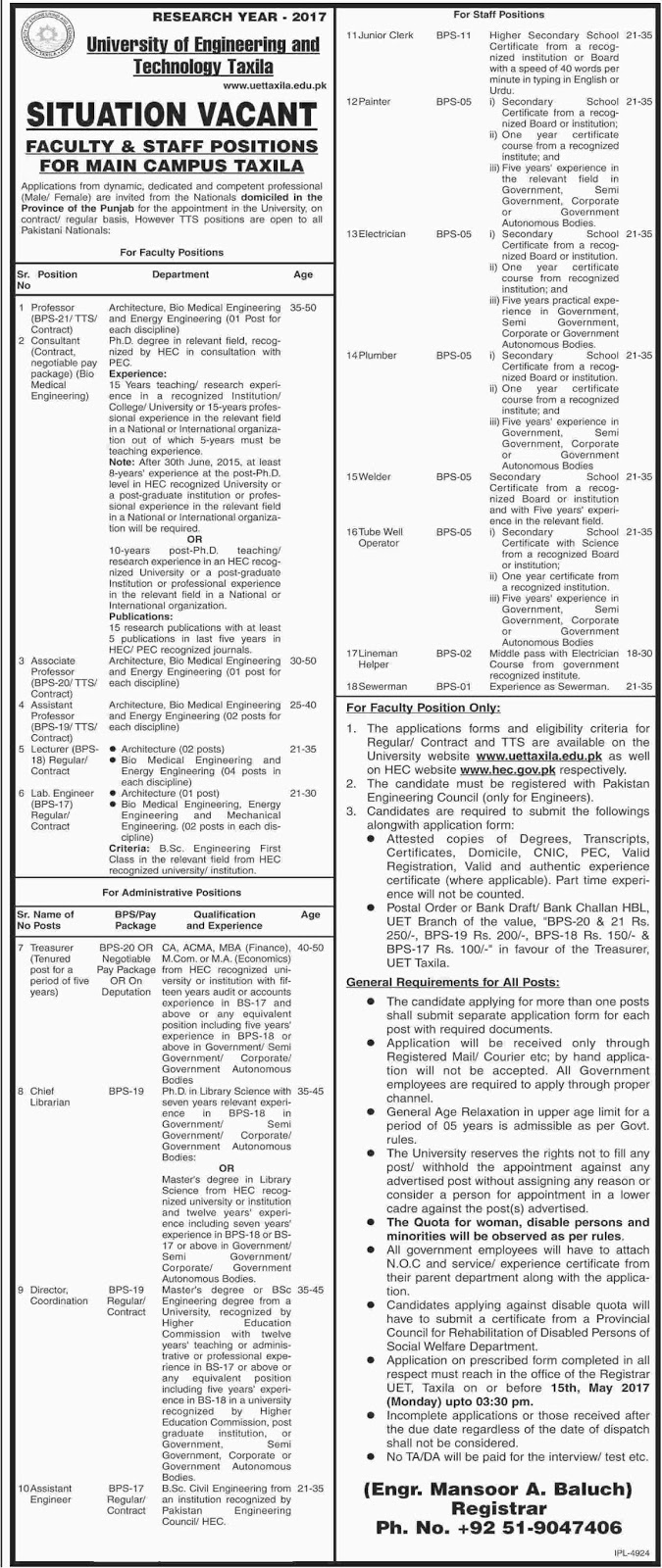 University Of Engineering And Technology Taxila Required Faculty Staff 27 Apr 2017