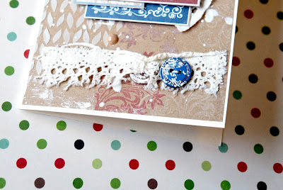 Christmas card with lace and buttons.