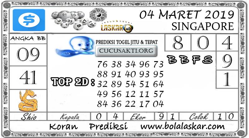 Prediksi Togel SINGAPORE LASKAR4D 04 MARET 2019