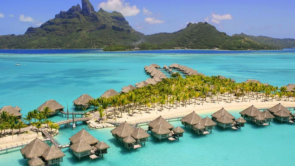 St Regis luxury resort on Motu Tofari, Bora Bora