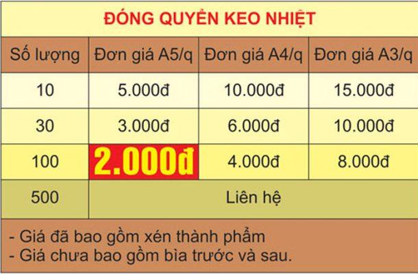 Bảng giá đóng sách keo nhiệt giá rẻ