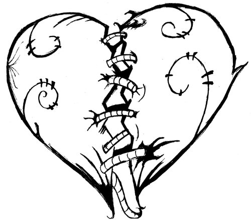 Free coloring pages broken hearts coloring pages for Heart coloring pages for teenagers
