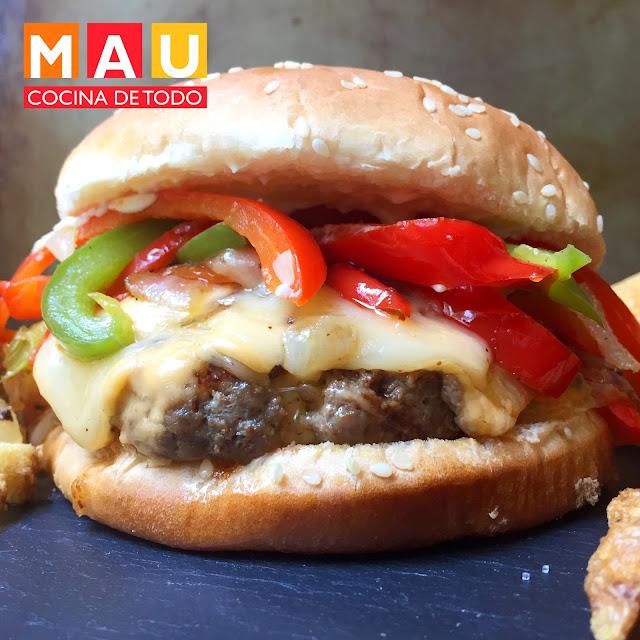 receta de la mejor hamburguesa con pimientos