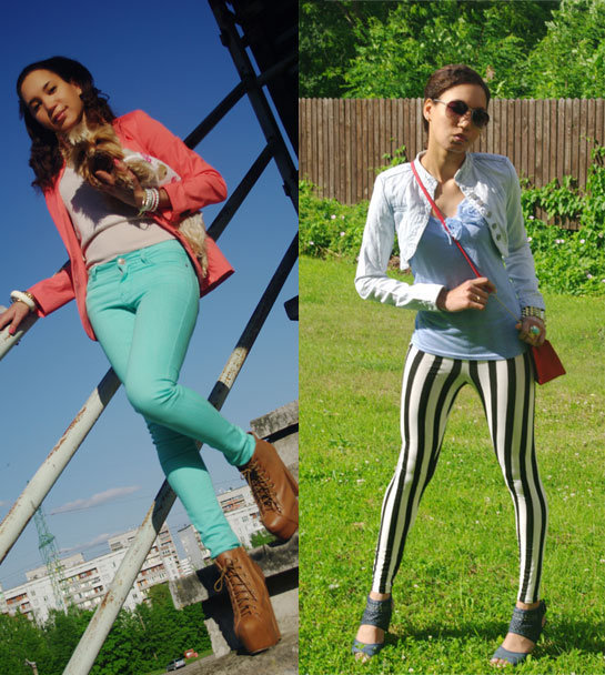How to style aqua jeans, Aqua jeans and coral blazer, how to style striped pants