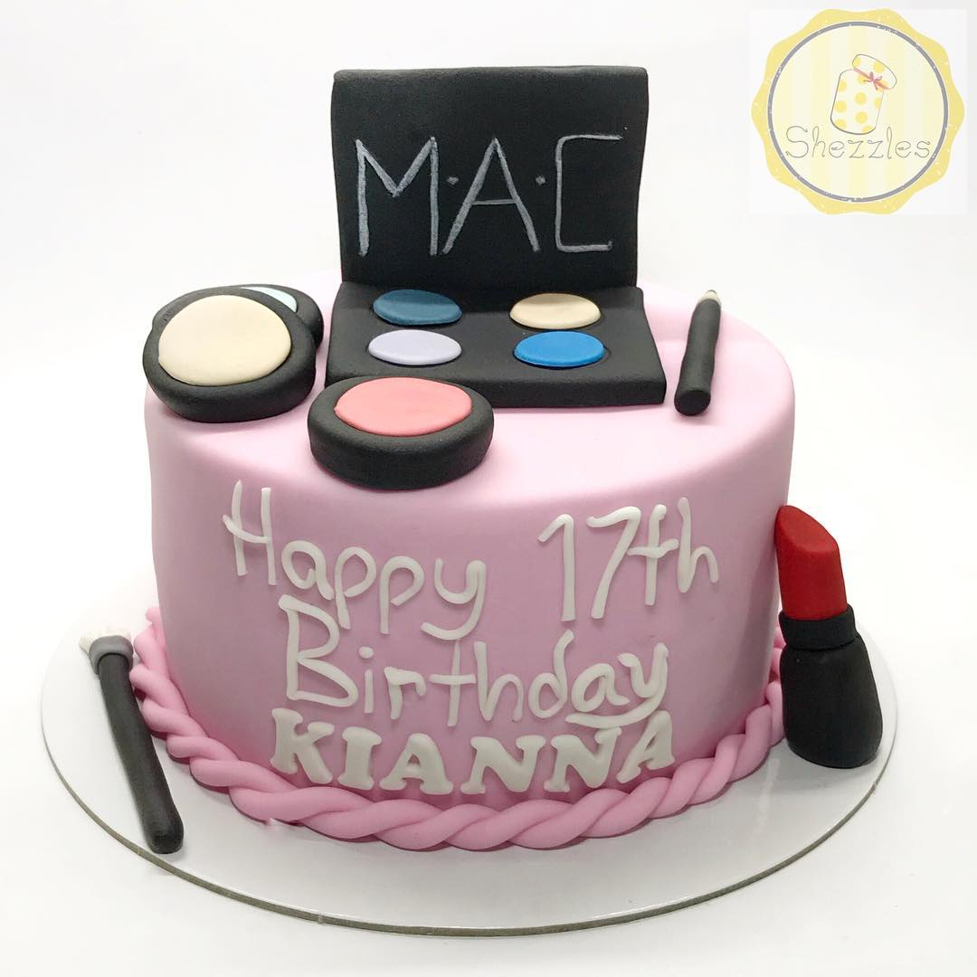 Superb Shezzles Cakes And Pastries Makeup Cake For Kiannas 17Th Birthday Personalised Birthday Cards Veneteletsinfo