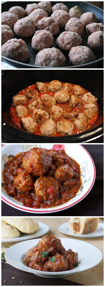 Crock Pot Herbed Turkey Meatballs are super moist and healthy meatballs made with ground turkey, fresh herbs and ricotta cheese that are slow-cooked in the crock pot with a red wine laced chunky tomato sauce.