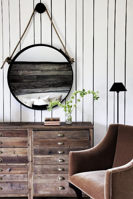 Modern farmhouse style apothecary chest and round mirror. Rachel Halvorson Inspired Decorating Tips. #modernfarmhouse #apothecary