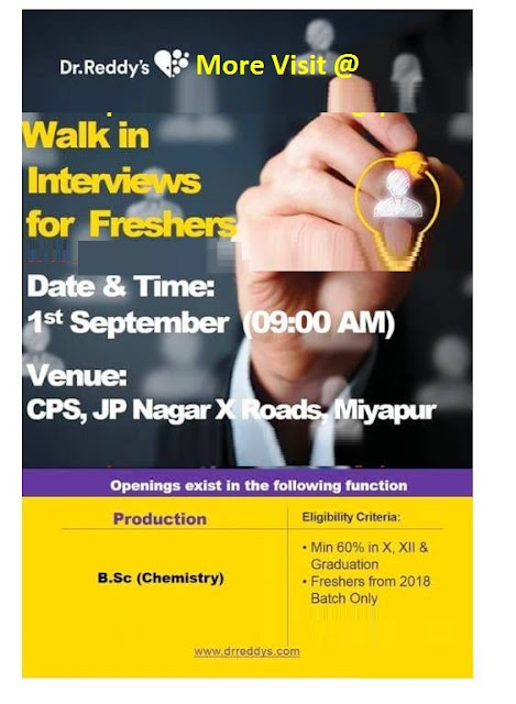 Dr.Reddy's  Walk In Interviews For Freshers at 1  September