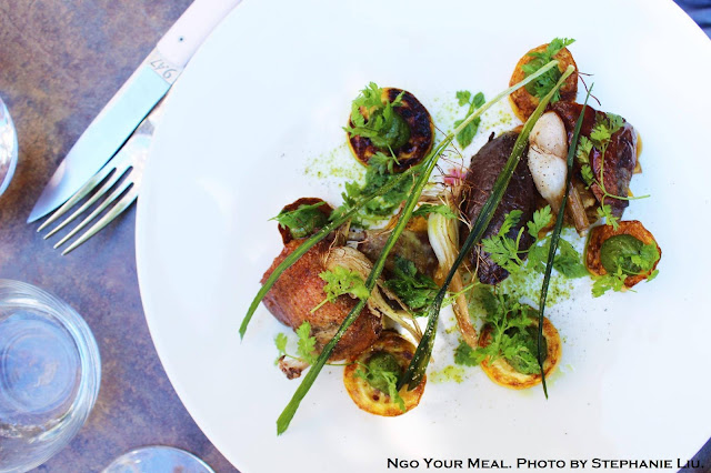 """Pornic"" Pigeon & his ""Rotie"", Zucchini, Onions, and Pesto at Pirouette in Paris"