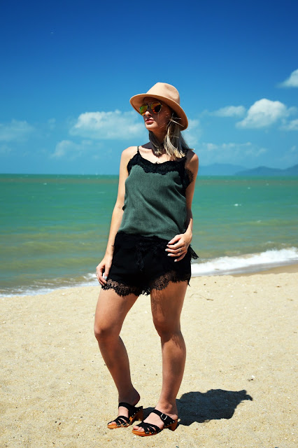 cami slip styled for Australian summer beach blogger look