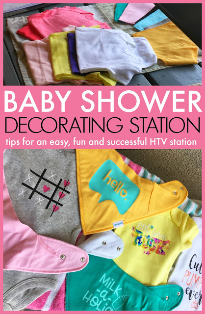 baby shower onesie decorating station, baby shower onesie station, heat transfer vinyl, baby shower, heat press