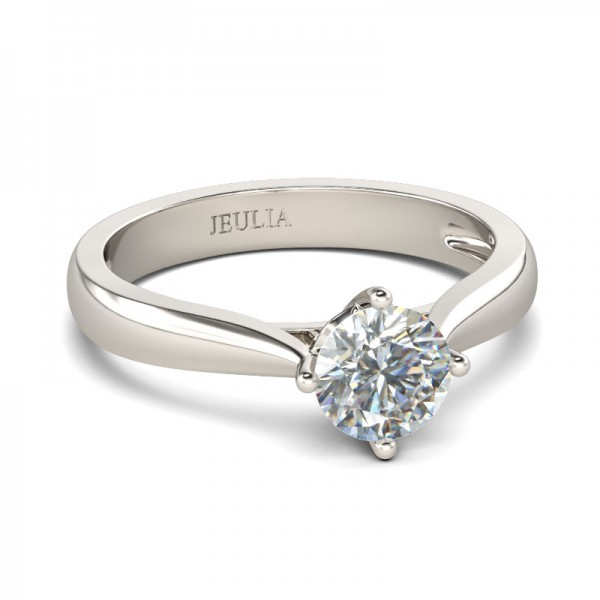 Jeulia Classic Solitaire Round Cut Created White Sapphire Engagement Ring