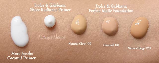 Dolce and Gabbana Sheer Radiance Primer Marc Jacobs Undercover Perfecting Coconut Swatches