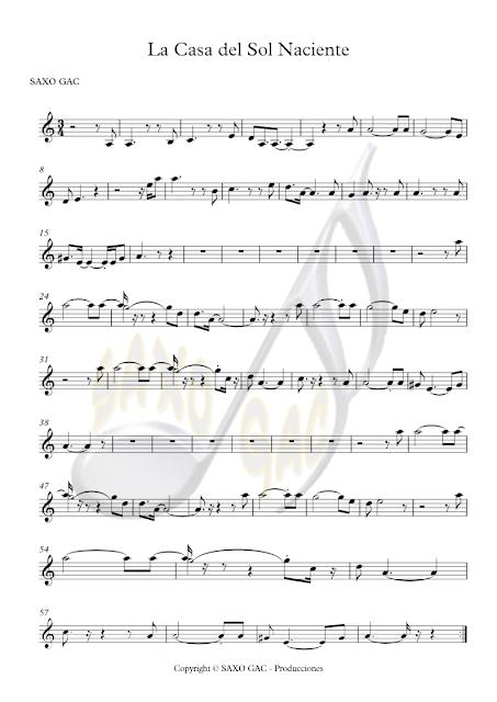 Partitura de La Casa del Sol Naciente para Instrumentos en Clave de Sol (Flautas, Saxofones, Trompeta, Clarinete, Violín, Cornos, Oboe, Requinto...) Rising Sun Blues Sheet Music in Treble Clef (Flute, Recorder, Saxophone, Trumpet, Clarinet, Horn...)