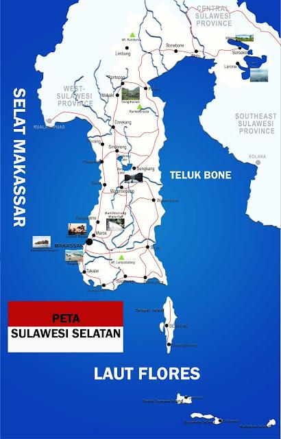 Gambar Peta Sulawesi Selatan Lengkap