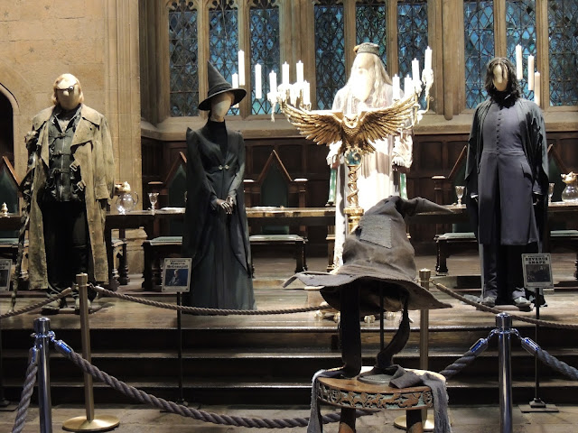 The head master's costumes, Dumbledore, McGonagall, Snape, Mad-Eye Moody, Sorting Hat, Great Hall