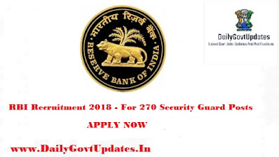 RBI Recruitment 2018 - For 270 Security Guard Posts Apply Now