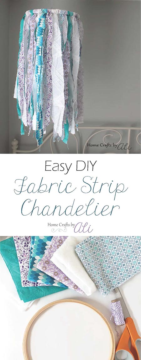 make your own fabric strip chandelier or mobile for your home