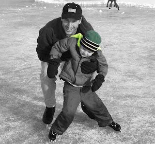 Dad Son Skating Lesson