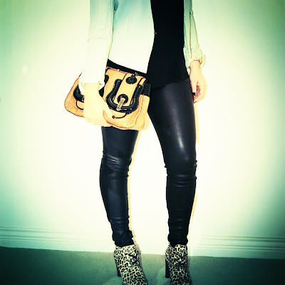 Theory leather leggings with Helmut Lang blazer, silk tank, Sperry booties and Fendi handbag
