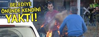 Antalyada Belediyenin önünde kendini yaktı