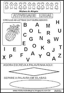 Atividade legal de alfabetização A