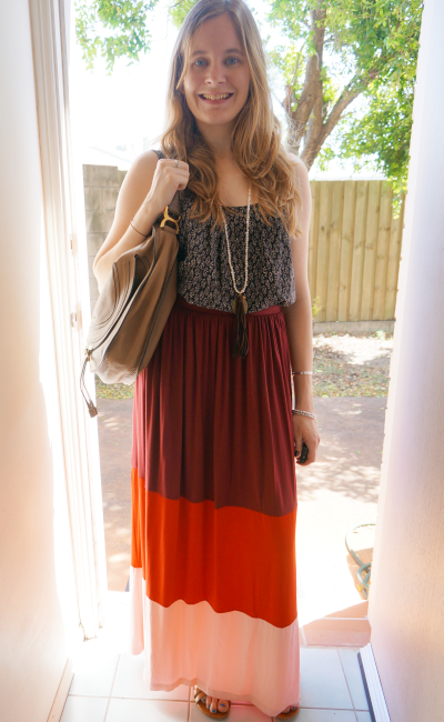Boho outfit printed cami long necklace colour block maxi skirt chloe marcie bag