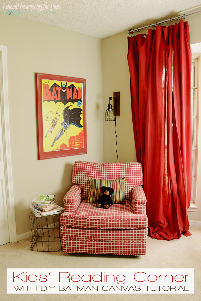 Kids' Reading Corner and DIY Canvas Artwork | Sweet space for the kiddos to escape to...this post includes a tutorial on making the Batman canvas, too.