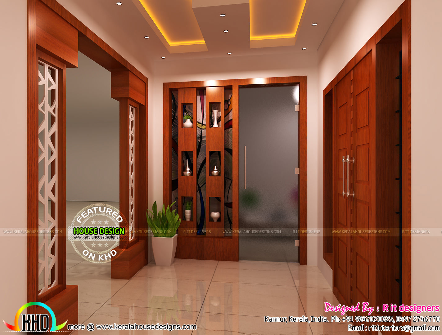 Bedroom kitchen living and foyer interiors kerala home for Foyer design ideas india