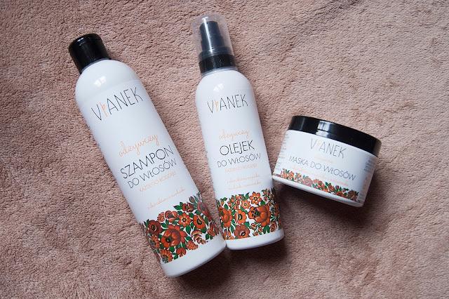 [353.] Odżywczy olejek, szampon oraz maska do włosów firmy Vianek