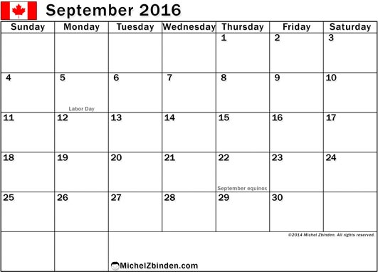 September 2016 Calendar with Holidays, September 2016 Calendar with Holidays Canada, September 2016 Holiday Calendar Canada, 2016 Canada Holiday Calendar