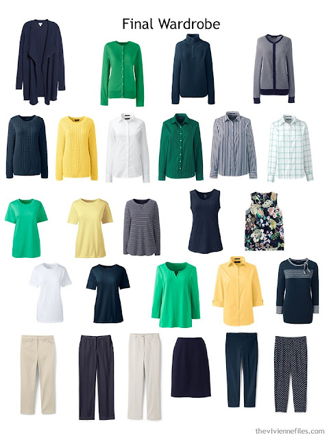 spring capsule wardrobe in navy and white with yellow and green accents