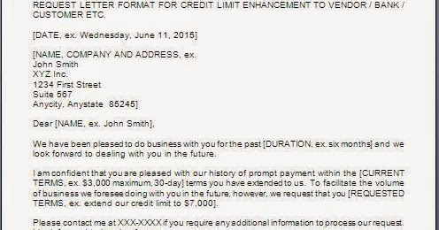 Letter To Increase Credit Limit With Supplier